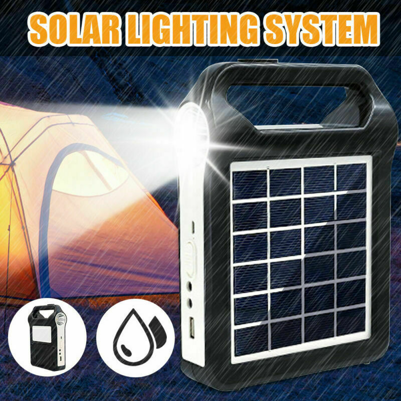 Portable Solar Power Panel Generator LED Light USB Charger System Outdoor Garden