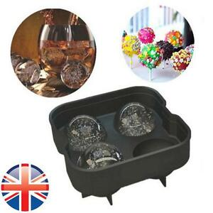 *UK Seller* Silicone Sphere Ice Cube Tray Mould Round Ball Whisky Maker Party