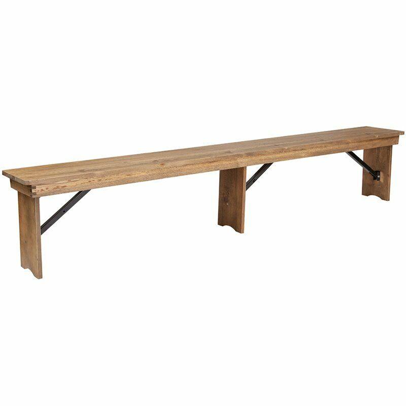 Flash Furniture Hercules Folding Dining Bench in Antique Rustic