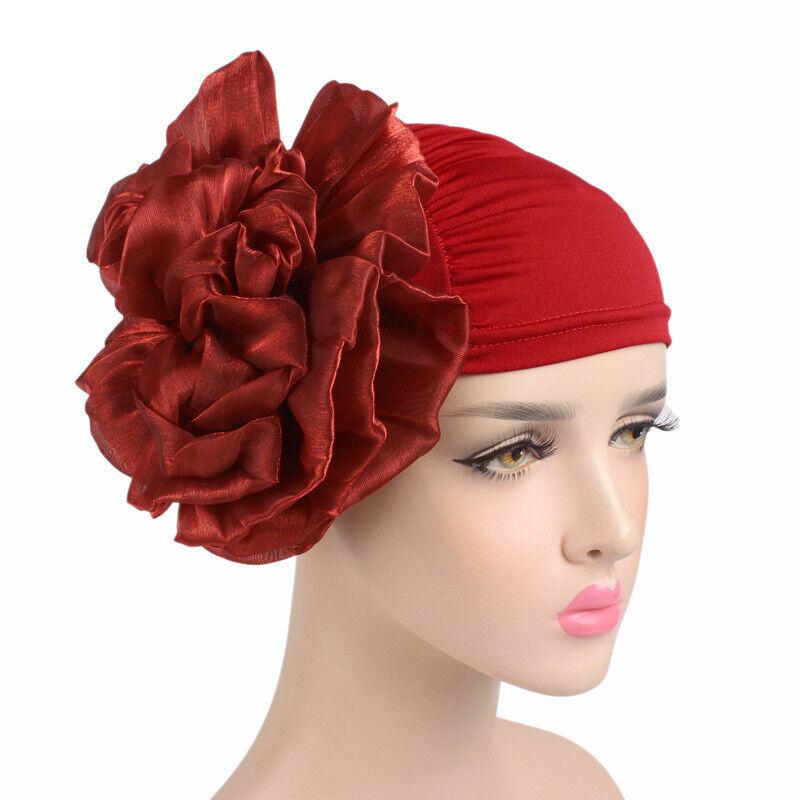 Women Flower Solid Head Scarf Hair Loss Chemo Wrap Cap Hijab Muslim Turban Hats Clothing, Shoes & Accessories