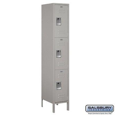 Extra Wide Standard Metal Locker Triple Tier 1 Wide 6 High 18 Deep Gray New