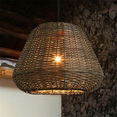 Lodge LED Rattan Natural Bamboo Pendant Light Chandelier Ceiling Lamp -
