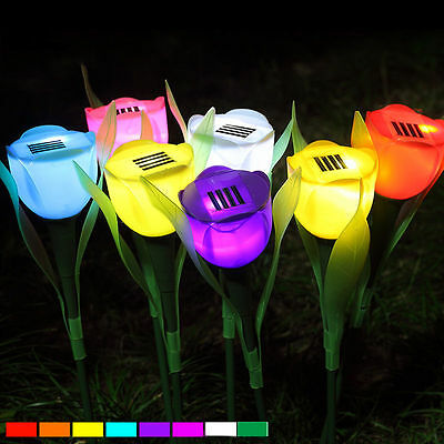 6 Pack Outdoor Solar Powered Tulip Flower LED Light Yard Garden Path Way Lamp