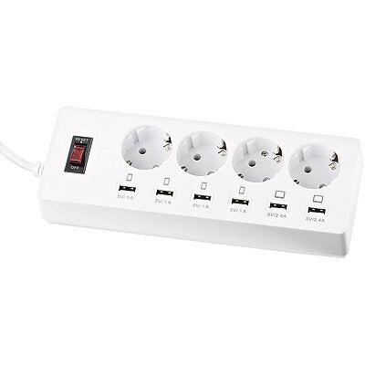 revolt Steckdosenleiste mit 4 Steckdosen und 6 USB-Buchsen (6 A / 30 Watt)