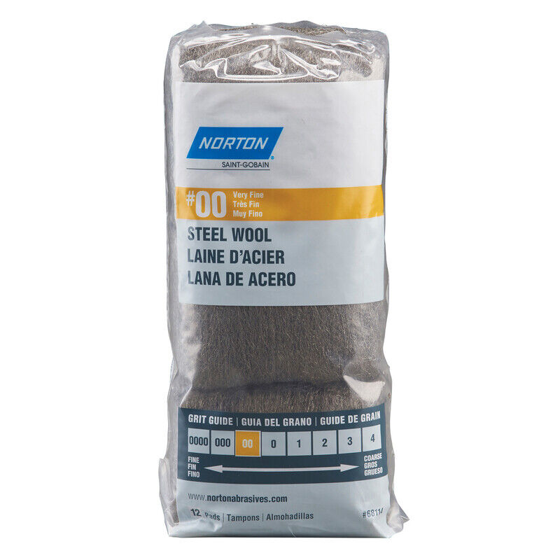 Norton 7660768114 00 Grade Very Fine Steel Wool Pad 2.5 L x W in.