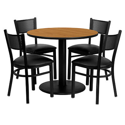 Restaurant Table Chairs 36 Natural Laminate With 4 Grid Back Metal Vinyl Seat