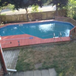 Pool metal frame and decking for free