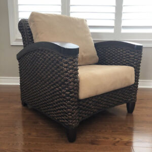 Two solid wood & wicker rattan chair for living room