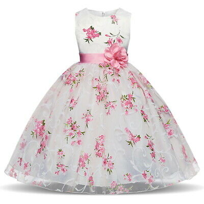 Baby Holiday Dresses (Kids Princess Baby Floral Party Prom Gown Pageant Wedding Flower Girl Pink)