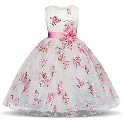 Kids Princess Baby Floral Party Prom Gown Pageant Wedding Flower Girl Pink Dress - Winter Dress Girls