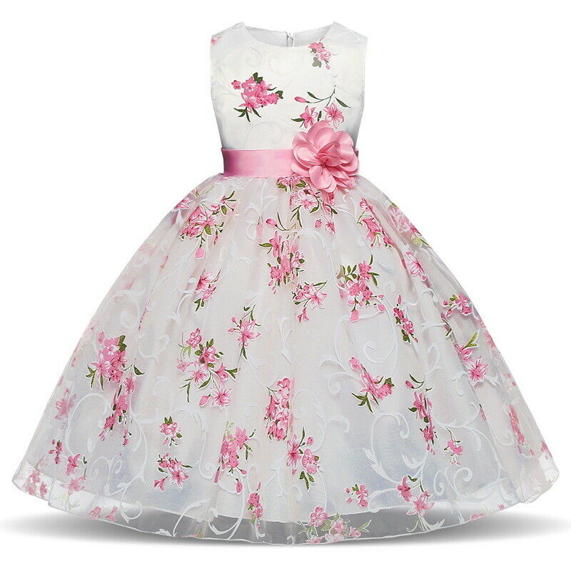 Kids Princess Baby Floral Party Prom Gown Pageant Wedding Flower Girl Pink Dress