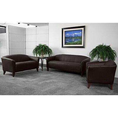 Brown Leather Sofa Love Seat Side Chair Office Reception Area Guest Seating Set