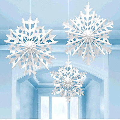 Snowflake Hanging Paper Fan Decoration Christmas Holiday Party Supplies Winter  ()