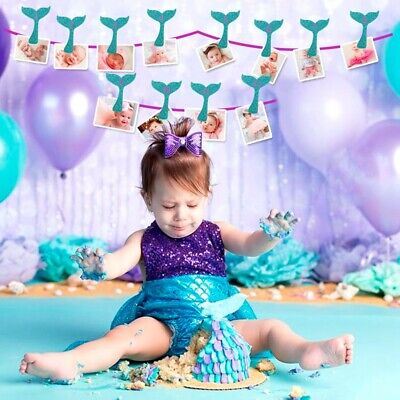 13Pcs Mermaid Tail Photo Banner Baby Photo Album Clips 1th Birthday Supplies](Little Mermaid Pinatas)