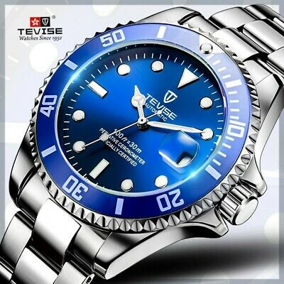 Tevise Quartz Movement Best Men's wrist Watch Submariner DIVING Watch Luxury