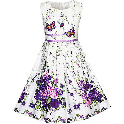 Purple Butterfly Flower - Sunny Fashion Girls Dress Purple Butterfly Flower Sundress Party Age 4-12 Years