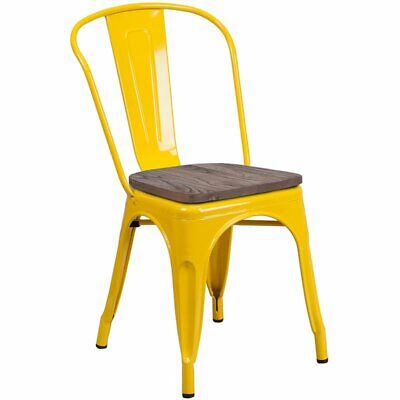 Flash Furniture Metal Dining Side Chair in Yellow and Wood Grain