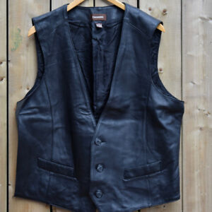 Danier Black Leather Vest, New without tags. Men's Size 42-44