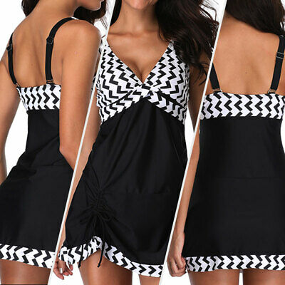 Plus Size Women Swimdress+Shorts Braces Tankini Set Two Piece Swimsuit -