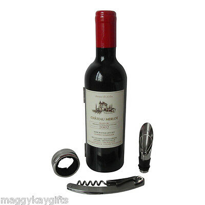 Wine Bottle Accessory Gift Set – Corkscrew Opener Collar Kit Mens Christmas Gift