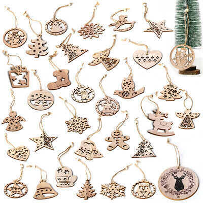 6 PC Christmas Snowflakes Wooden Pendants Xmas Tree Ornaments Home Hanging Decor](Snowflakes Hanging)
