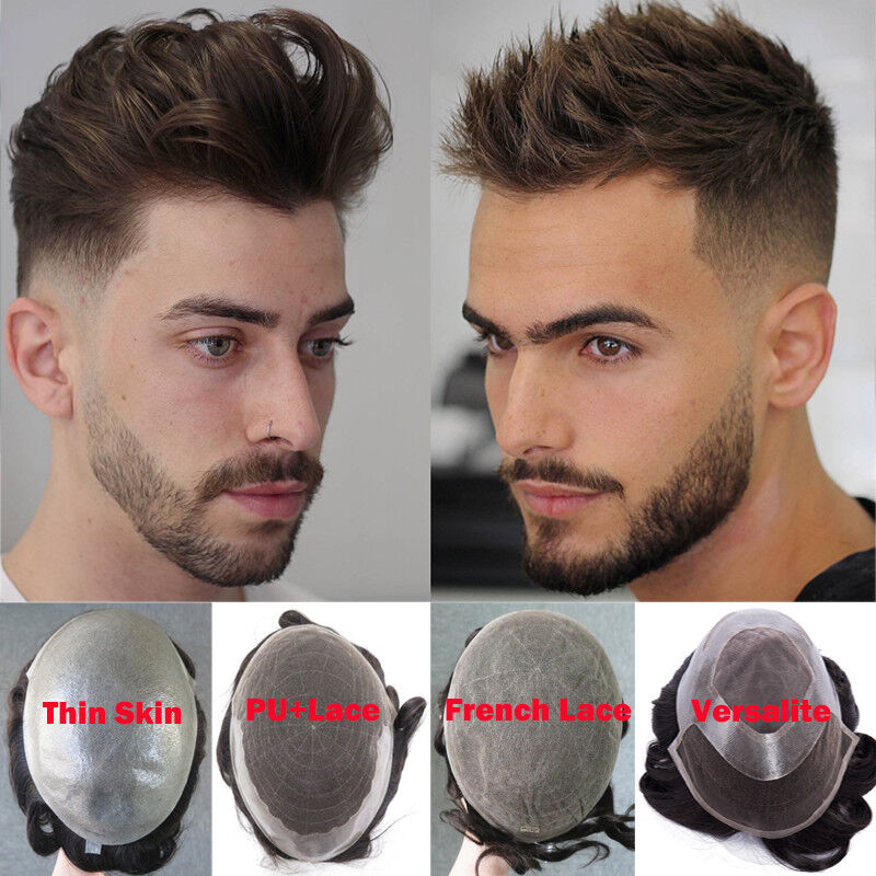 ba081736d Full French/ Swiss Lace Poly Skin Toupee Mens Hair Replacement System Hair  Piece Men's Wig UK Human Hair