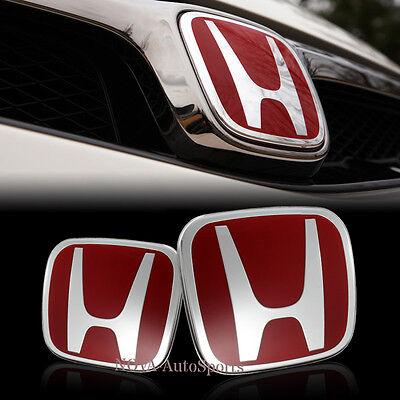 Red JDM H Emblem 2PCS Set Front & Rear For 06-15 HONDA CIVIC SEDAN DX EX LX SI