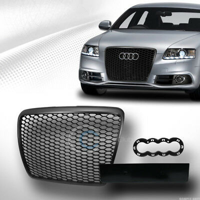 Fit 08-11 Audi A6/S6 C6 Glossy Black RS Honeycomb Mesh Front Bumper Grill Grille