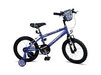 """Brand New Sealed Box - 16"""" Coyote Spider Boys Bike - Blue/Black with Stabilisers -Age 5+ NO OFFERS"""