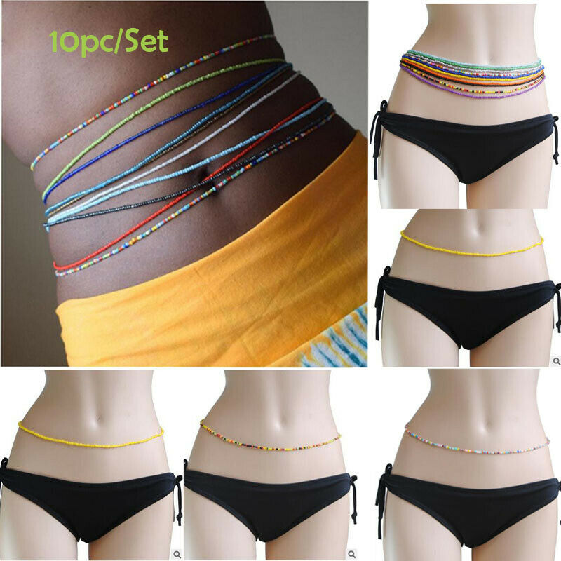 10pcs Set Handmade Body Chain Beads Elastic Waist Chain Simple Single Layer US