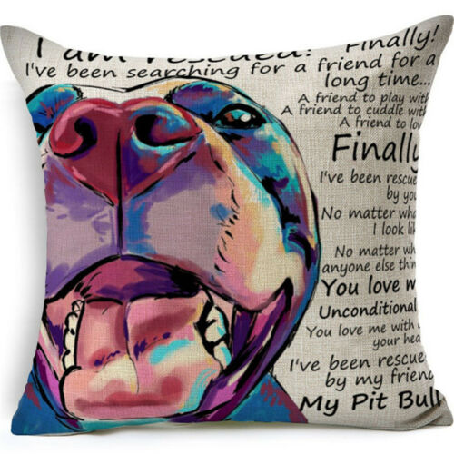 Pit Bull Inspirational Rescue Pillow Linen Colorful ANIMAL RESCUE DONATION