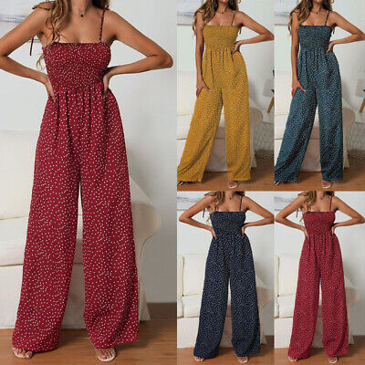 Boho Womens Polka Dot Jumpsuit Sleeveless Strap Summer Beach Playsuit Rompers