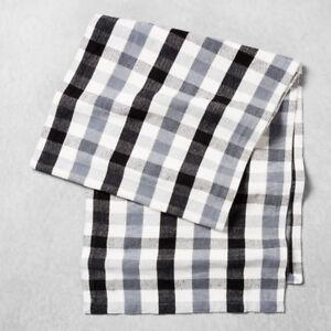 Brand new black / white / grey plaid XL table runner 90x20