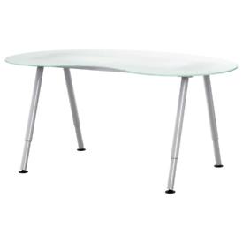 IKEA Desk Galant White Glass Kidney Shape Reception Office Home Desk