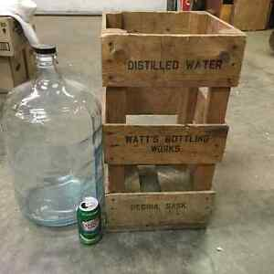 Watt's Bottling Works Regina Crate & Glass Carboy