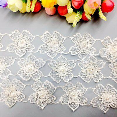 1yd Bauhinia Flower Pearl Lace Trim Embroidery Wedding Dress Veil Applique Adorn Pearl Trim