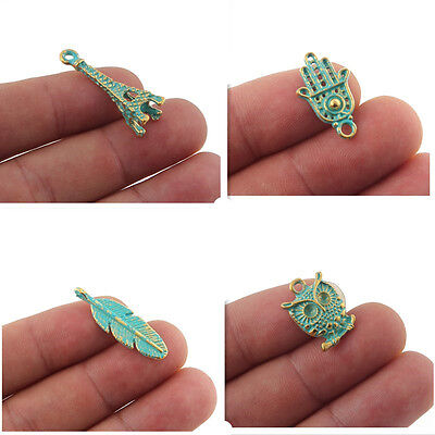Palm Leaf Column (10x Owl Palm Leaf Tower Pendant Beads Charm For DIY Necklace Bracelet Jewelry)