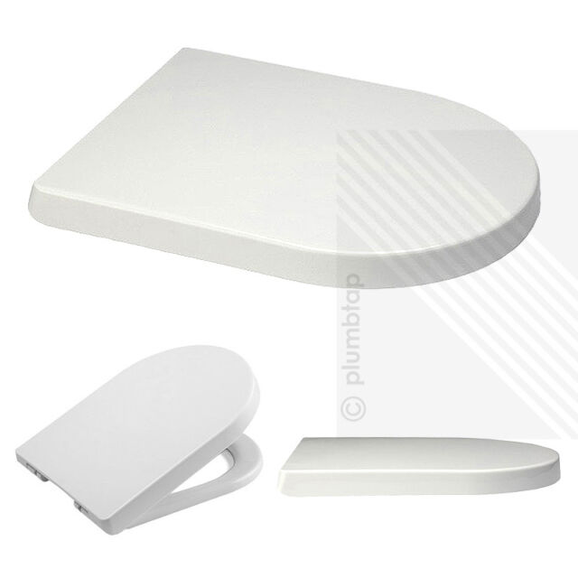 Luxury D Shape Heavy Duty Soft Close White Toilet Seat | with TOP FIXING Hinges