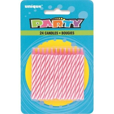 White Striped Cake Candles (Pink and White Stripe Cake Candles 24PK )