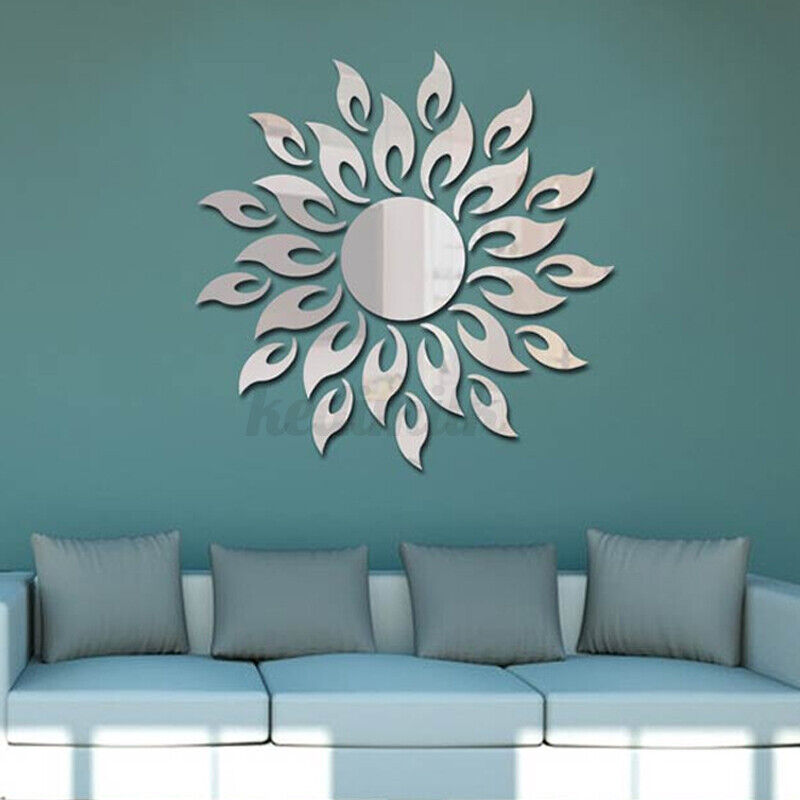 Home Decoration - 4PCS 3D DIY Mirror Sun Flower Totem Removable Wall Sticker Decal Home Room Xmas