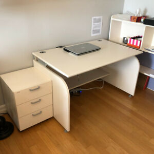 Solid wood desk with bookshelf & drawer