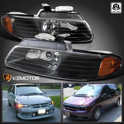 1996-2000 Dodge Caravan Chrysler Town & Country Voyager Black Headlights Pair