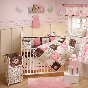 Pink brown and green girl ladybug flower patchwork baby crib bedding