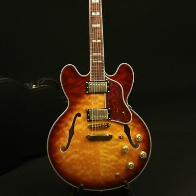 Semi Hollow Body Electric Guitar Quilt Maple Top Gold Hardware Grover Tuner