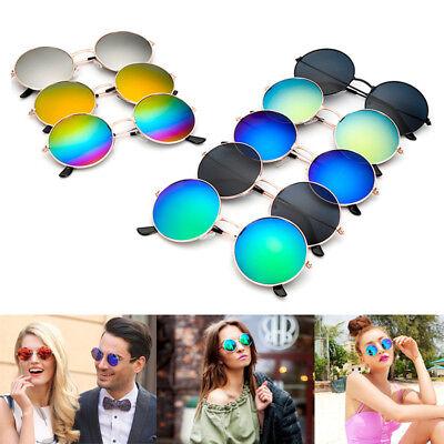 Vintage Retro Mirror Round Circle Sun Glasses Unisex Steampunk Punk Sunglasses (Black Circle Glasses)