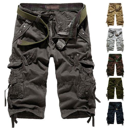 UK Men Elasticated Waist Cotton Cargo Combat 3//4 Long Length Shorts Kings=Summer
