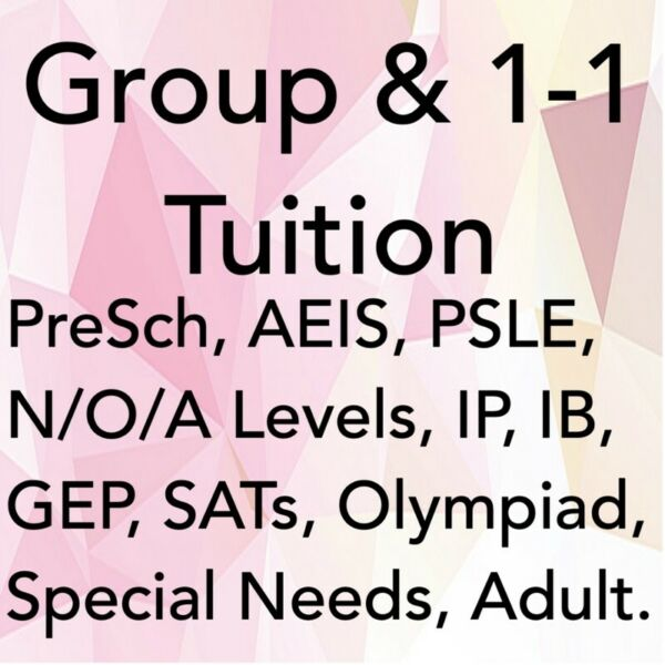 Group or 1-1 Tuition for Pre-school/PSLE/N/O/A Levels/GEP/AEIS/IELTS/Olympiad by MOE Teachers