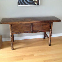 Solid wood console entry table