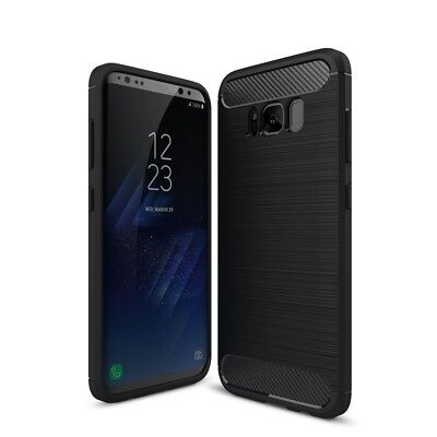 Samsung Galaxy S8 TPU Case Carbon Fiber Optik Brushed Motiv Schutz Hülle Schwarz