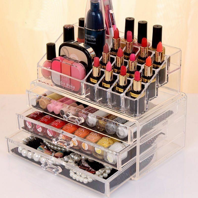 Acrylic Jewelry Makeup Cosmetic Organizer Case Display Holder Drawer Box StoraLN